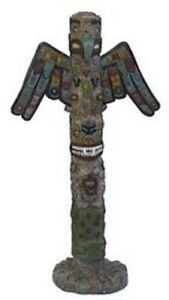 Détails sur déco Poteau de torture TOTEM pieu indien peint à la main en  polyrésine 31x16x60