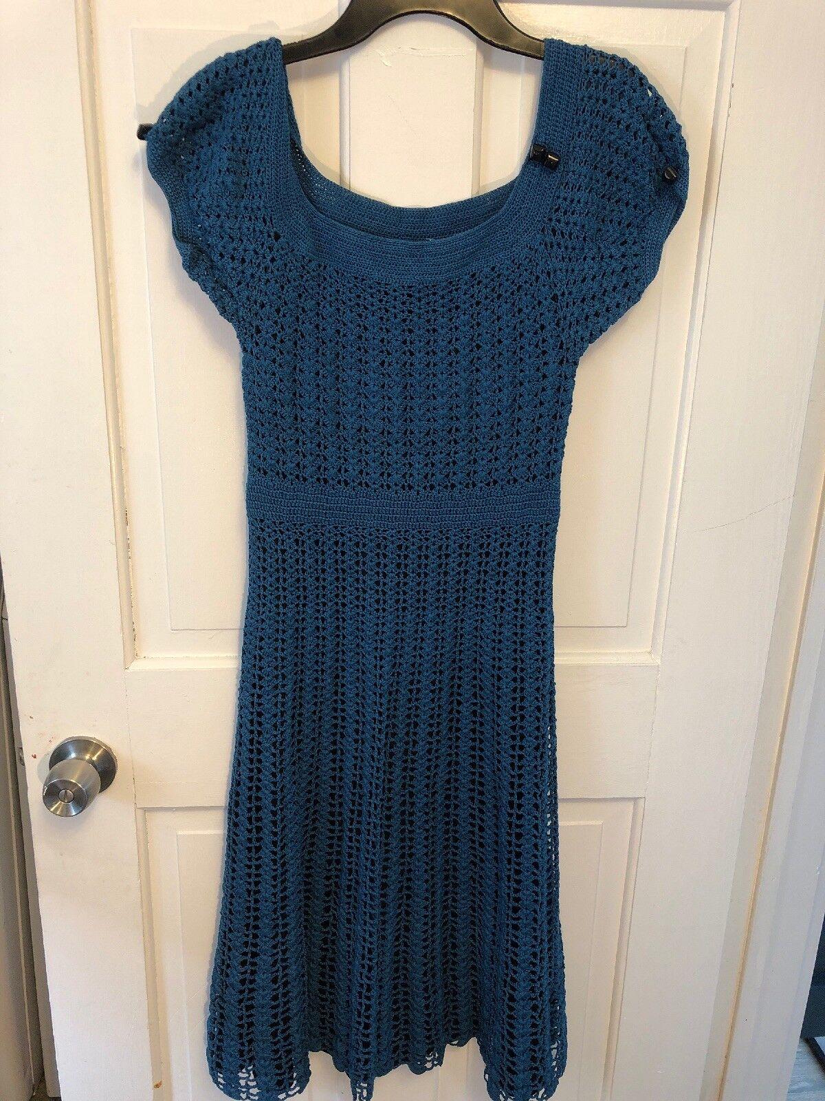 BETSEY JOHNSON NEW YORK Teal Blau Crochet Cap Sleeve Long Dress M Runs Small