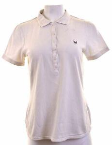 CREW-CLOTHING-Womens-Polo-Shirt-Size-12-Medium-White-Cotton-G101