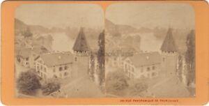 Suisse Panorama Da Thun Foto J.Andrieu Stereo Vintage Albumina Ca 1868