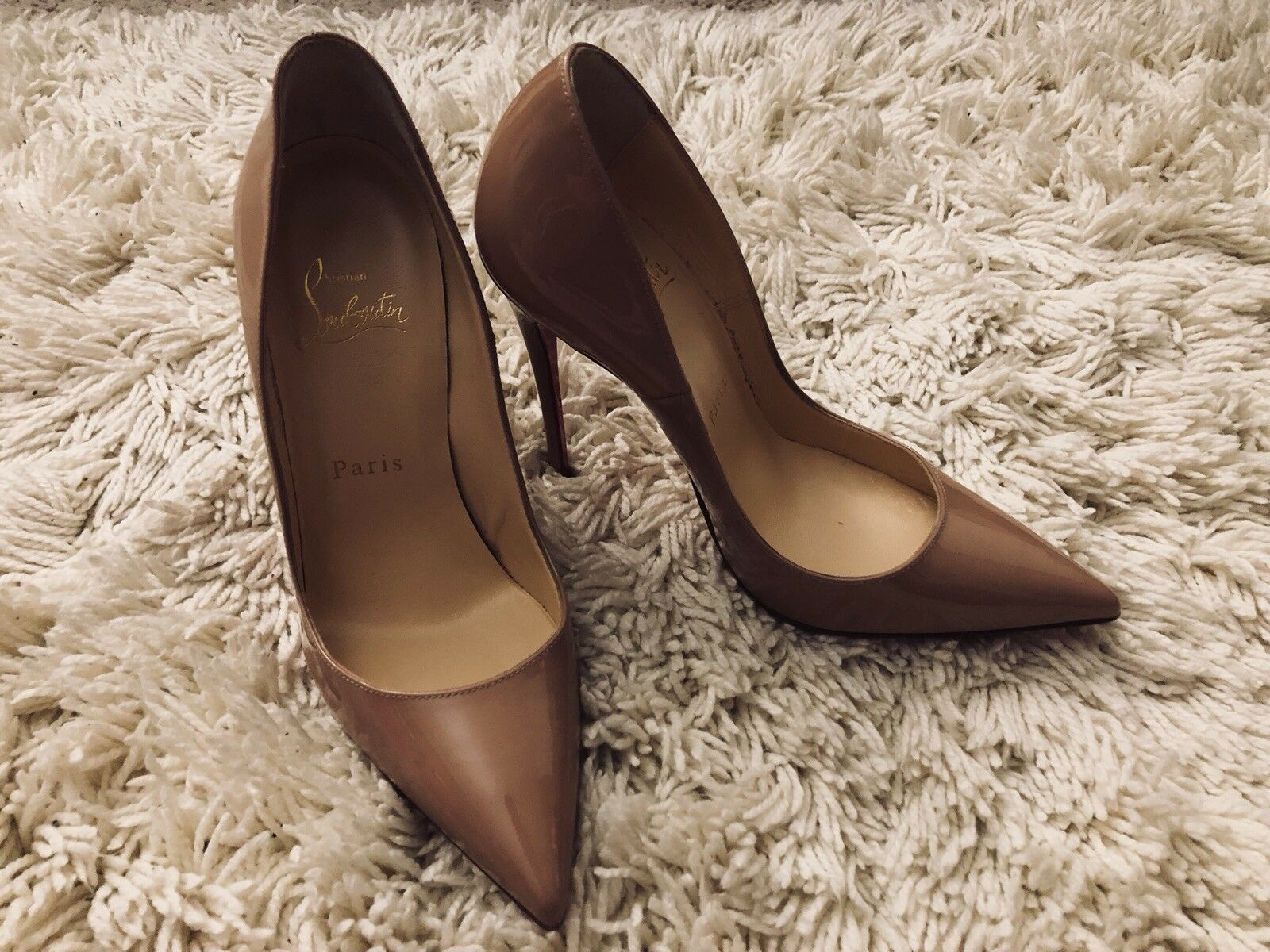 Christian Louboutin So Kate 120 Patent Leather Stiletto Pumps Heels Nude Size 36