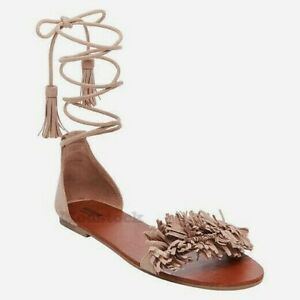 1e14d1e3d7fddd Image is loading Womens-Mossimo-Ginger-Leather-Fringe-Toe-Gladiator-Sandals-