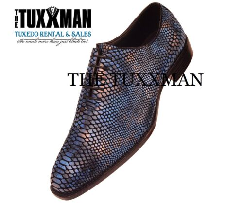New Exotic Blue Snake Skin Tuxedo Faux Printed Dress Shoe TUXXMAN Tuxedo PROM