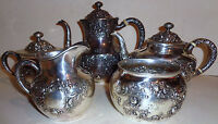 Antique Gorham Fleury sterling silver 5 pieces tea / coffee set A3550 repousse