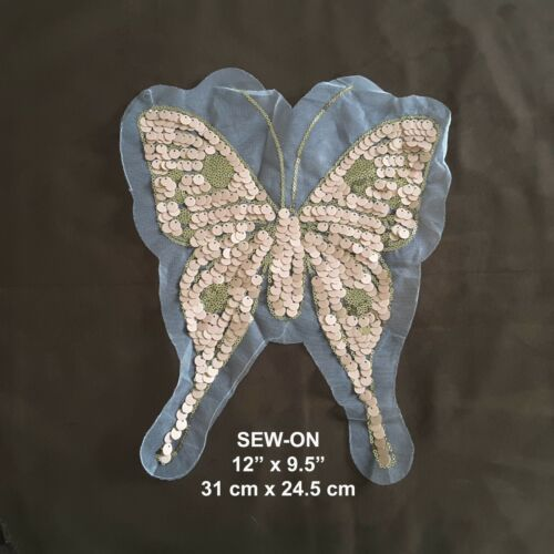 Baby Blue Gold Butterfly Lace Sequin Embroidery Neckline Collar Patch Applique
