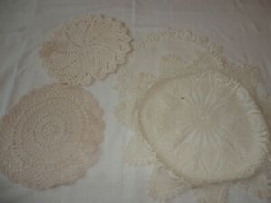 4-Vintage-Hand-Crochet-Doilies-Round-Assorted-Sizes