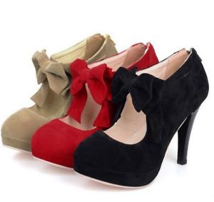 Women-High-Heels-Stilettos-Bowknot-Platform-Suede-Party-Cocktail-Sexy-Pumps-Shoe