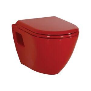 Creavit Red Wall Hung Mounted Combined Bidet Toilet Pan Wc Soft Seat Turkey Ebay