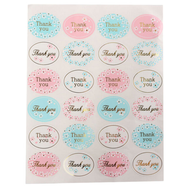 Golden THANK YOU Oval Stickers Labels Sealing Wedding Party Favors 24pcs KK
