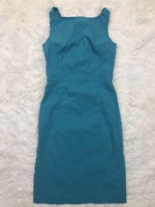 Express-Sz-9-10-Turquoise-Blue-Sleeveless-Pencil-Stretch-Straight-Dress-Knee
