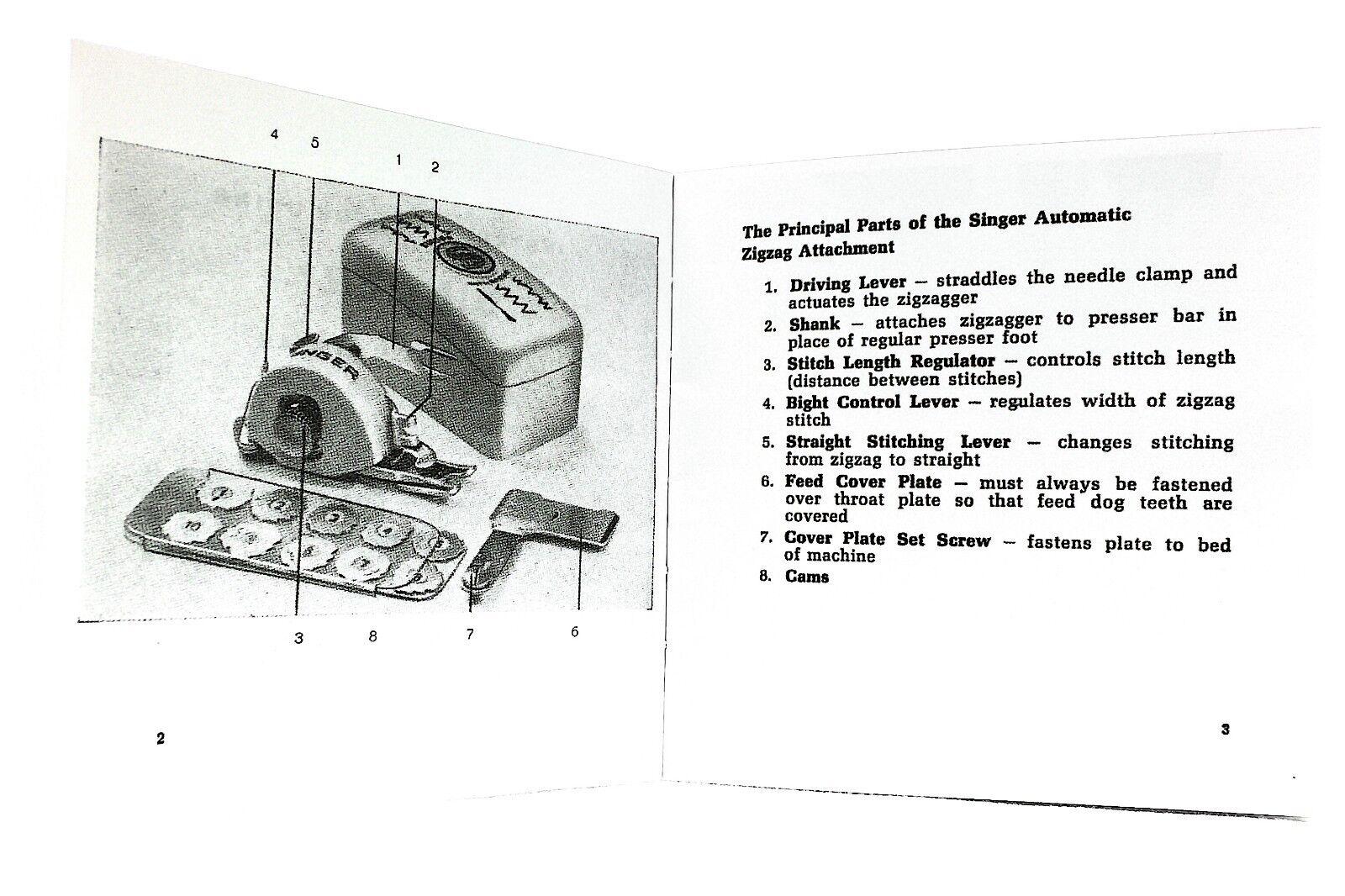 Vtg Rare Singer Sewing Machine Parts Singercraft Zig Zag Attachment 648 Threading Diagram 160991 Swiss Ebay