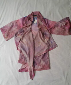 BNWT-Dotti-Kimono-Sheer-Jacket-Beach-Pink-Purple-Casual-Festival-Boho-Size-8-S