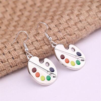 Colour Palette Paint Set Dangle Earrings Miniblings Brush Artist Wood