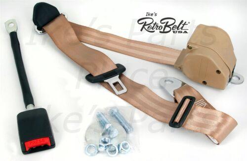 1-RetroBelt Seat Belt 3-Point RETRACT-379-TAN-for Honda Toyota Jeep VW Ford EURO