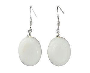 Schöne Ohrringe aus weißen Korallen in Fassform 925 Silber Ohrhaken