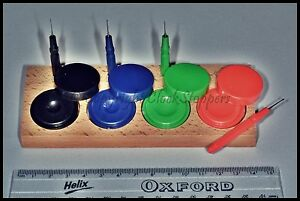 Set-of-4-Watch-Oil-Cups-Wooden-Stand-Watchmakers-Oiler-Grease-Dappen-Pot-Cup