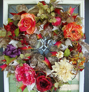 XL-Elegant-Deluxe-Fall-Floral-Deco-Mesh-Front-door-Wreath-Home-Decor-Decoration