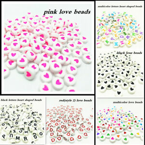 Hot-600Pcs-7mm-Heart-shaped-A-Z-Alphabet-Letter-Round-Beads-Acrylic-Spacer-Bead