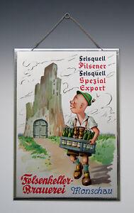 Blechschild-Felsenkeller-Brauerei-Monschau-um-1950