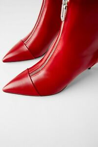 Zara Red High Heel Ankle Boots With Zip All Sizes