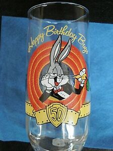 1990 BUGS BUNNY 50TH BIRTHDAY  WARNER BROS  COLLECTOR/'S GLASSES