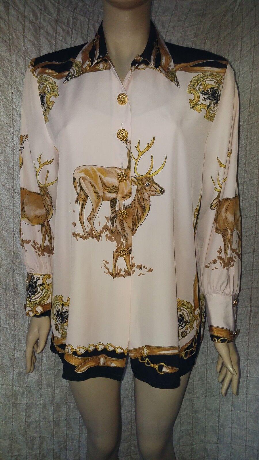 Sandro vintage 100% viscose silky gazelle printed unique shirt Größe L