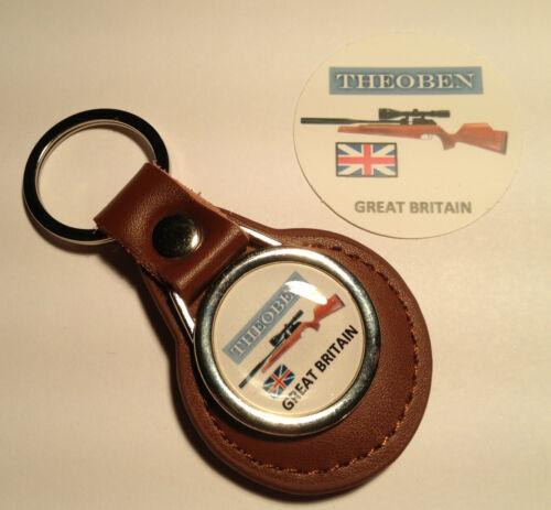 gratuit autocollant en cuir véritable porte-clés /& plaqué or insignes: Theoben air rifles