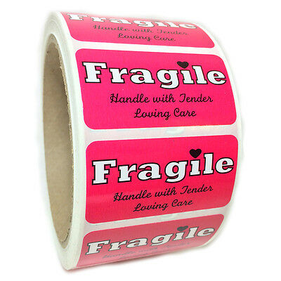 "Pink ""Fragile Handle with Tender Loving Care"" Labels Stickers  1"" by 2"" - 500 ct"