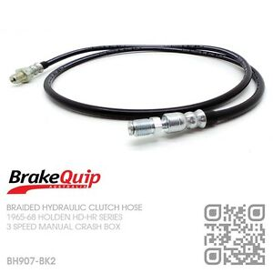 BH907-BK2-STAINLESS-BRAIDED-CLUTCH-HOSE-THREE-SPEED-MANUAL-HOLDEN-HD-HR-BLACK