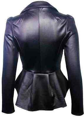 Latest Summer Women Ladies Blazer Faux Leather Jacket Smart Coat Top Business HQ