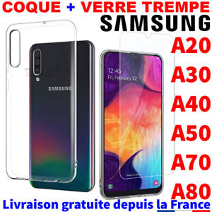 Mode 2019 Samsung Galaxy A50 A40 A70 A80 Coque Verre Trempe Etui Housse Protection Case