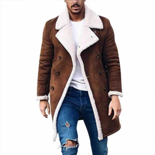 Winter Men/'s Long Smart Button Outwear Jacket Warm Trench Wool Overcoat Coats