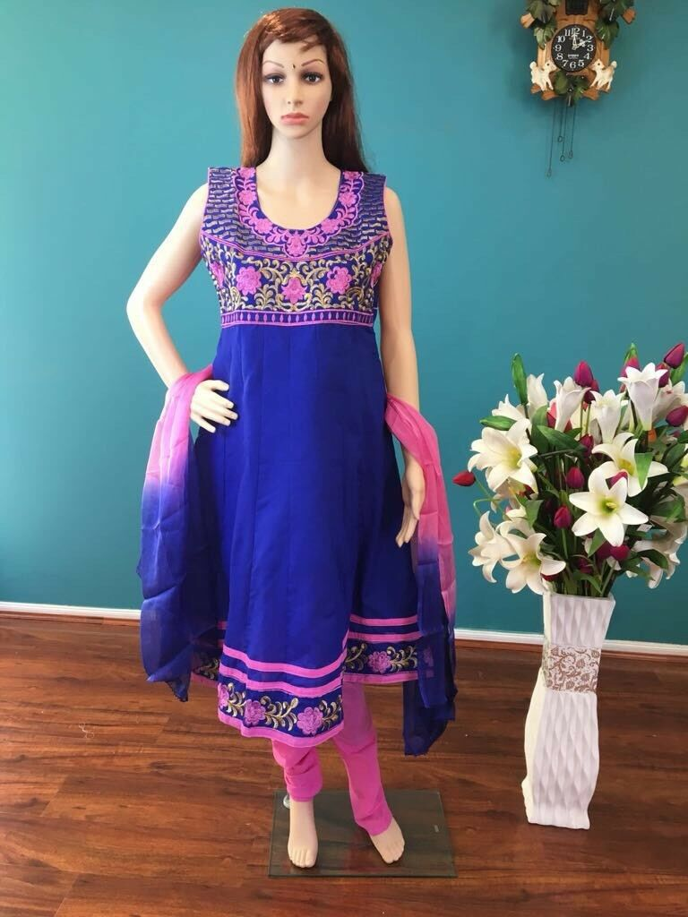 "36"" S Salwar Kameez Bollywood Indian Dress Cotton Purple bluee Pink Outfit HL17"