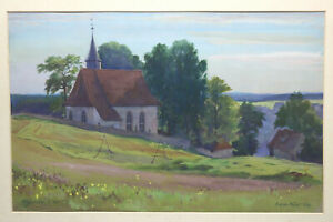Gustav-Mueller-Aquarell-Kirche-von-Kroegelstein-1956