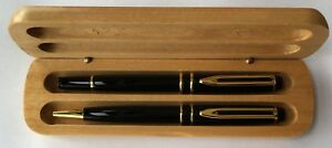 WTM Black Metal Ball and Roller Pen Set in Maple Wood Box