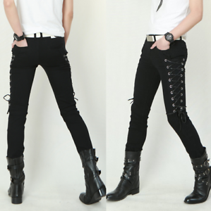 Chic Men Side Lace-up Punk Gothic Casual Pants Slim Fit Skinny Trousers Hot Sale