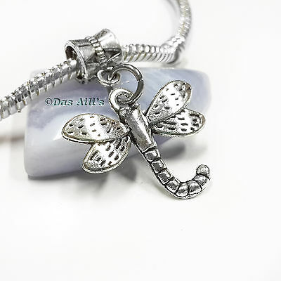 Cute 3D Big Silver Tone Dragonfly Slider Clip on Dangle Charm fits Euro Bracelet