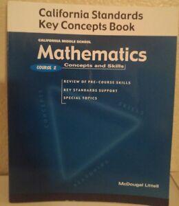 Details about Mcdougal Littell Course 2 Mathematics CA KEY Concepts 7th  Grade 7 WORKBOOK GD