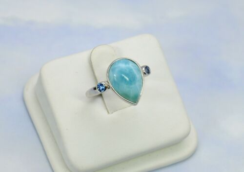 Larimar Ring And Earrings Set AAA Premium Quality .925 Sterling Silver