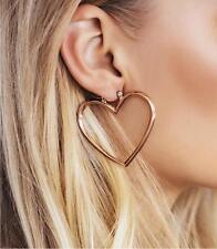 1 Pair Gold Women Hoop Gold Double Heart Earrings Dangle Hollow Ear Studs