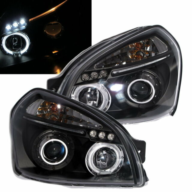 Customized-Tucson 04-09 04-09 Angel-Eye LED*3 Pro Headlight Black for Hyundai