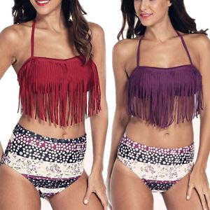ee4e78ce5a Floral Fringe Bandeau Top Halter Swimsuit High Waist Bikini Padded ...