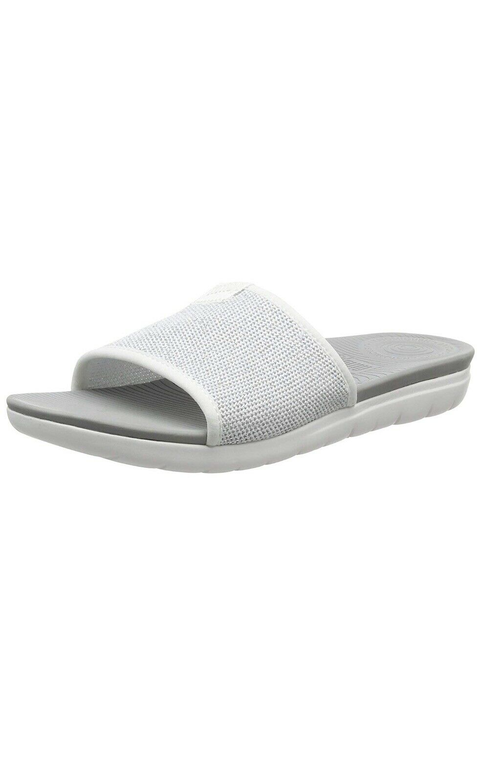 26a4a887c Women s FitFlop Uberknit Slide White silver Sandals Size UK 8 eu 42 ...