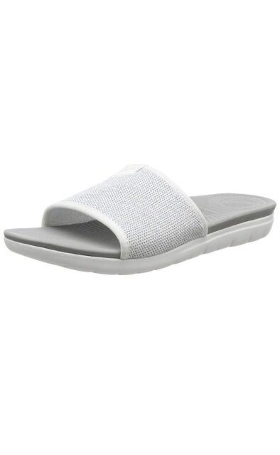 d4176dd183c45 Women s FitFlop Uberknit Slide White silver Sandals Size UK 8 eu 42 ...
