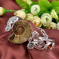 Unique Gift Jewelry Natural Ammonite Fossil Gemstone Silver Bracelet 7 1/2 Inch