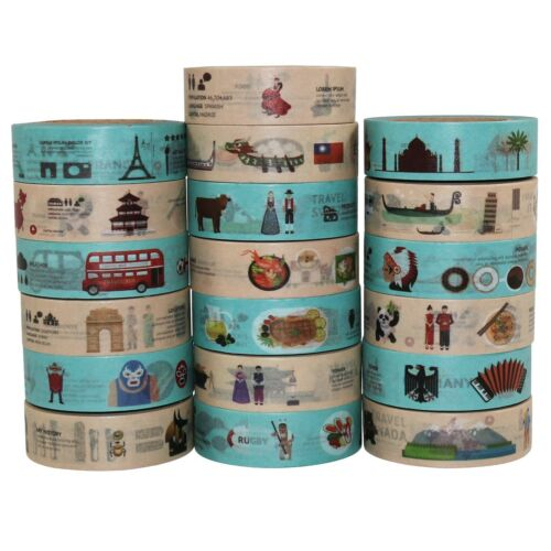 6//12 Rolls 10m Washi Sticky Tape Creative Craft Travel Countries Culture Nations