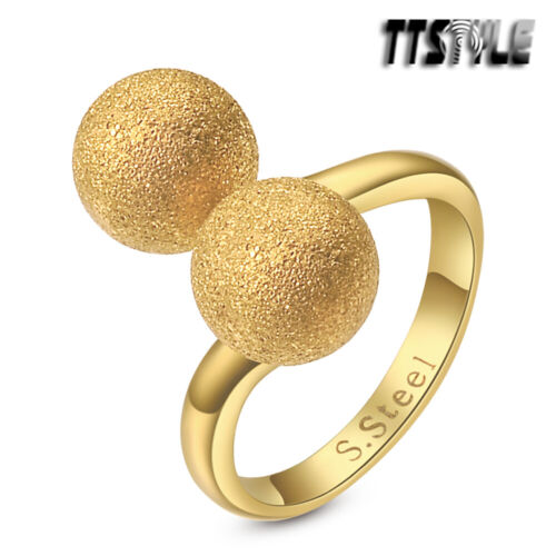 Fashion TTstyle Stainless Steel Brushed Gold Double Ball Ring Choose Size