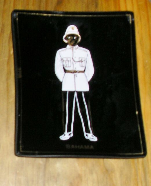 Vtg Black Glass Dish Gold Trim White Clothed Policeman Figure Bahama Souvenir