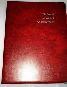 NATIONAL-RECORD-OF-ACHIEVEMENT-PVC-A4-FOLDER-IN-RED-LEATHER-LOOK-WITH-SILVER