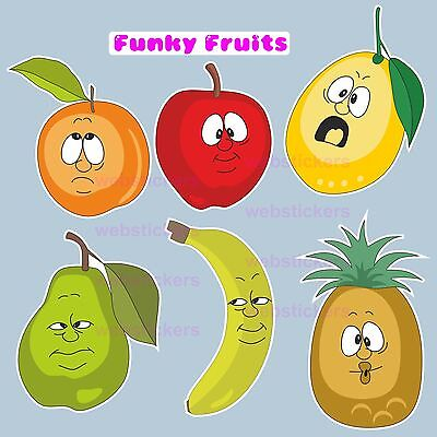 Funny funky fruit  Set of 18 Vinyl stickers  car, furniture, fridge kitchen etc